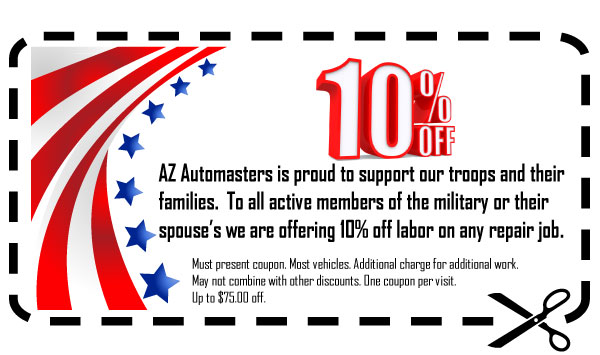 Click to Print - Az Automasters is proud to support our troops and their families.  To all active members of the military or their spouse's we are offering 10% off labor on any repair job.